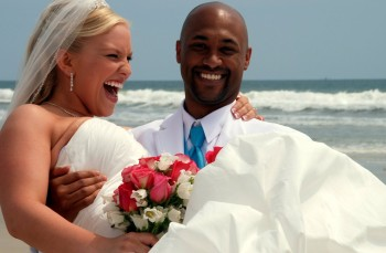 beach wedding gulf coast bride and groom