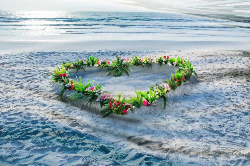 floral heart beach wedding